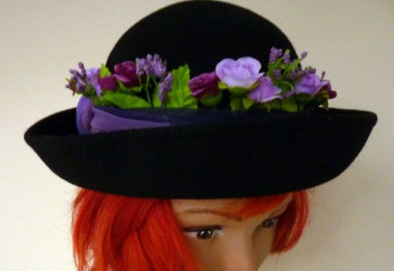 Black Wool Hat Downton AbbeyFestival Hat by LulunaClothing on Etsy