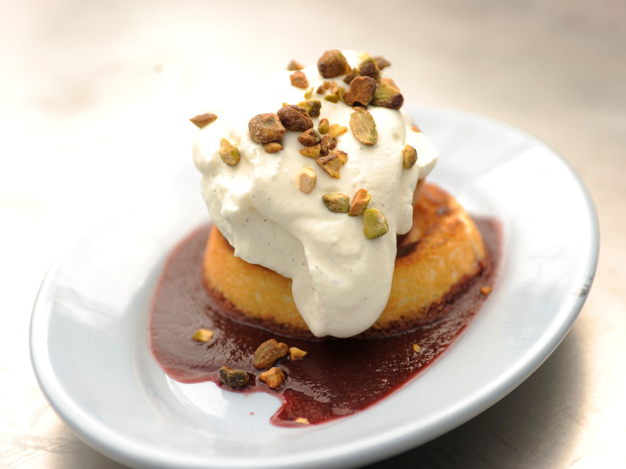 Grilled Peaches and Angel Food Cake With Red-Wine Sauce picture