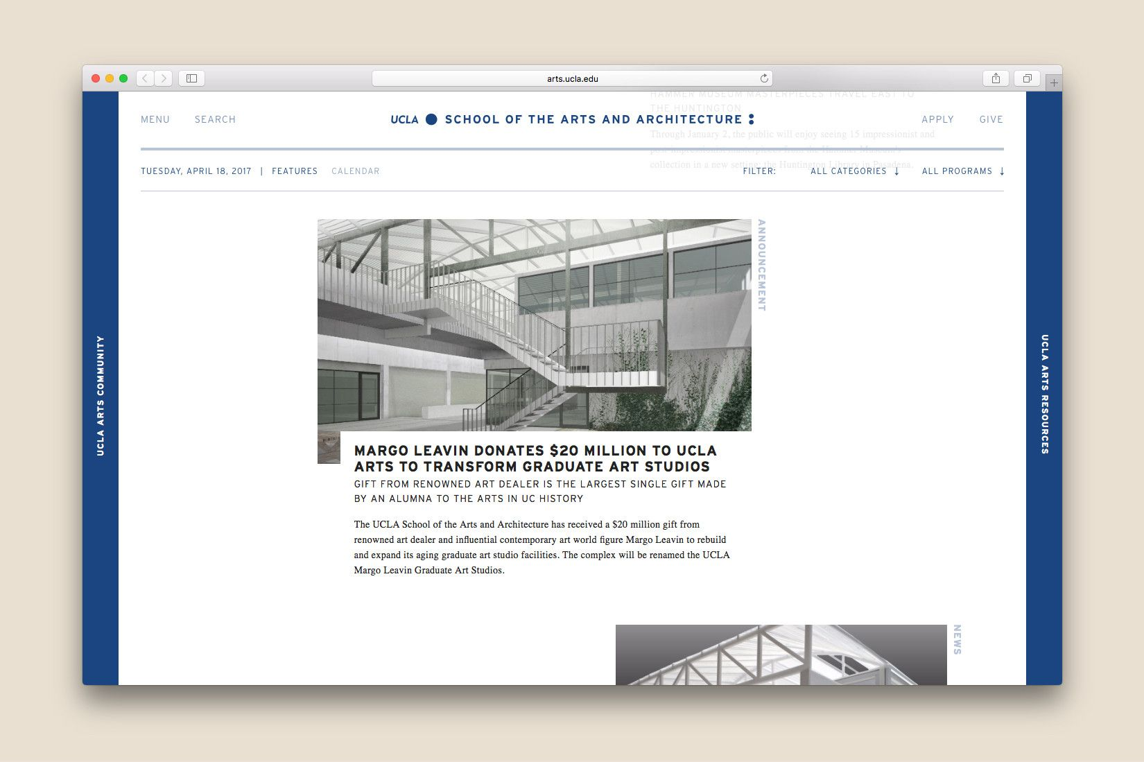Website Design And Development For UCLAu0027s School Of The Arts And  Architecture