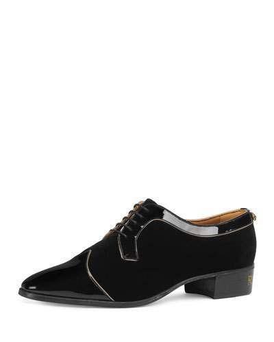 1c07b8b28ecf9 Gucci Men s Thune Velvet Lace-Up Shoes w  Patent Leather Trim