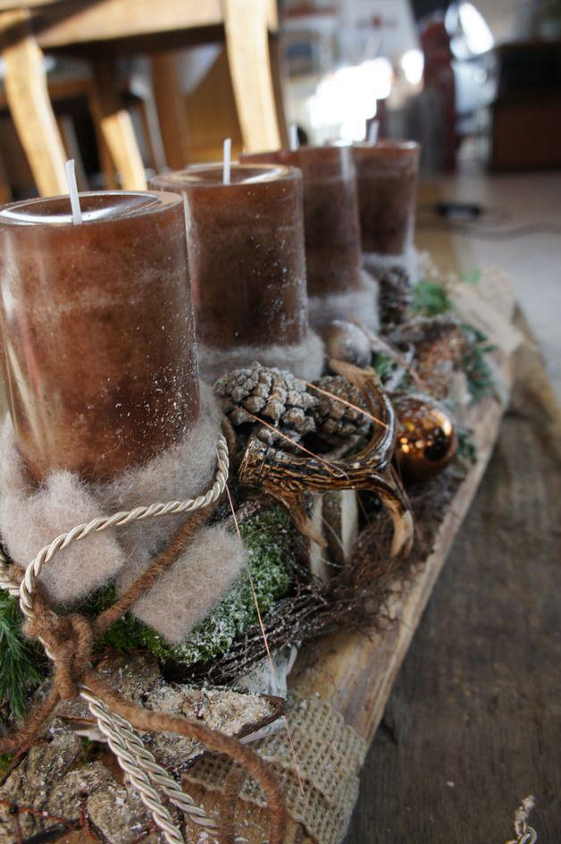 adventskranz adventsgesteck hubertusstube ein designerst ck von hoimeliges bei dawanda. Black Bedroom Furniture Sets. Home Design Ideas