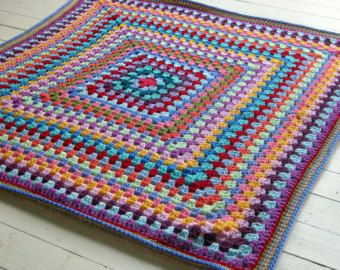 Bright Rainbow Colors Afghan Large Granny Square Crochet Throw Full  Double Bed Size Vintage Handmade Blanket