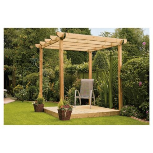 Buy Finnlife Single Deck with Pergola from our Decking range - Tesco ...