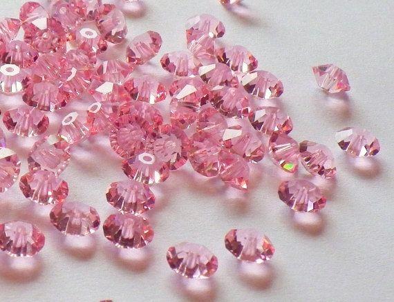 Vintage Swarovski Crystal Beads, Light Rose 5305, 5mm Crystal Beads, 35 Vintage Crystal Beads