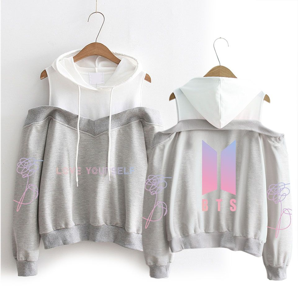 c0603bfae Bts love yourself off-shoulder hoodie (6 varian) in 2019 | KPOP FAN ...