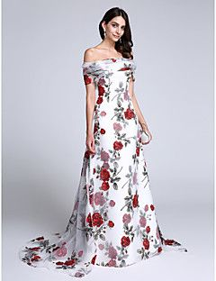 TS Couture® Formal Evening Dress Sheath / Column Off-the-shoulder Court Train Organza with Pattern / Print / Bow(s) – USD $ 218.49
