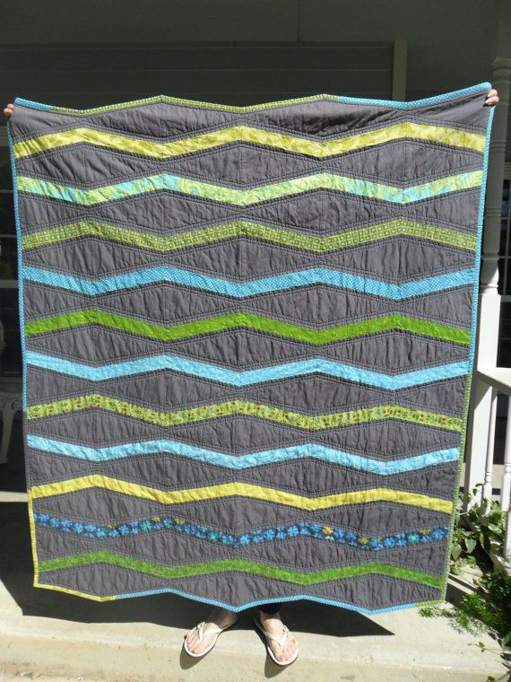 Inverted New Wave Toddler Bed Quilt For A Boy By Katandcatquilts