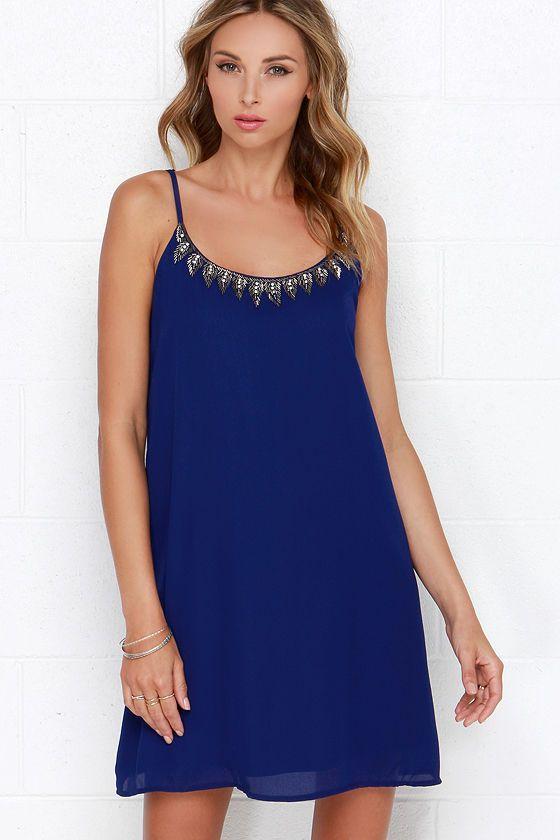 Mistress of Metal Royal Blue Beaded Dress at Lulus.com!