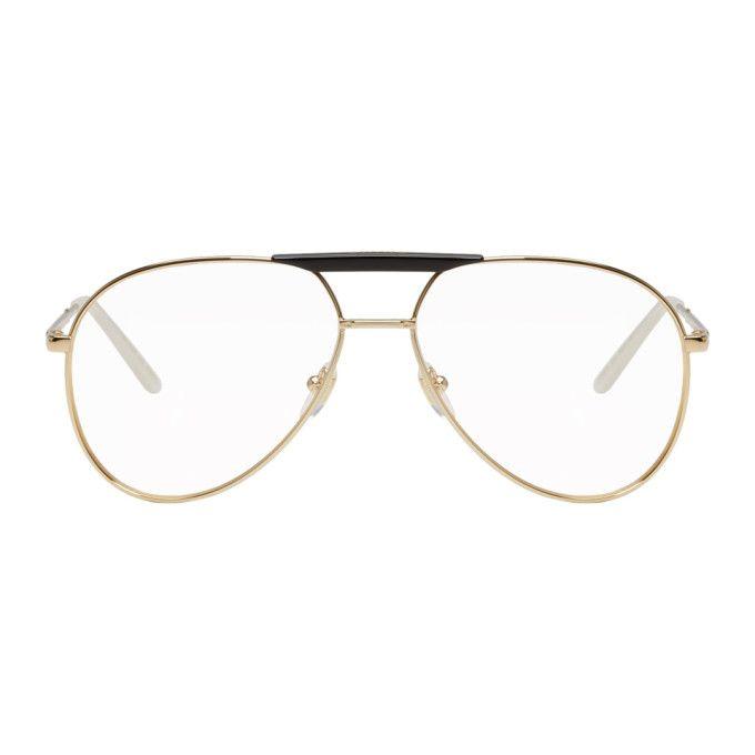 9ed1d6f779 GUCCI Gold   Black Cruise Aviator Glasses.  gucci