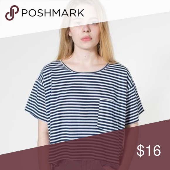 d7f44a344a6909 American Apparel Loose Striped Crop Tee Navy and white striped oversized  crop tee by American apparel