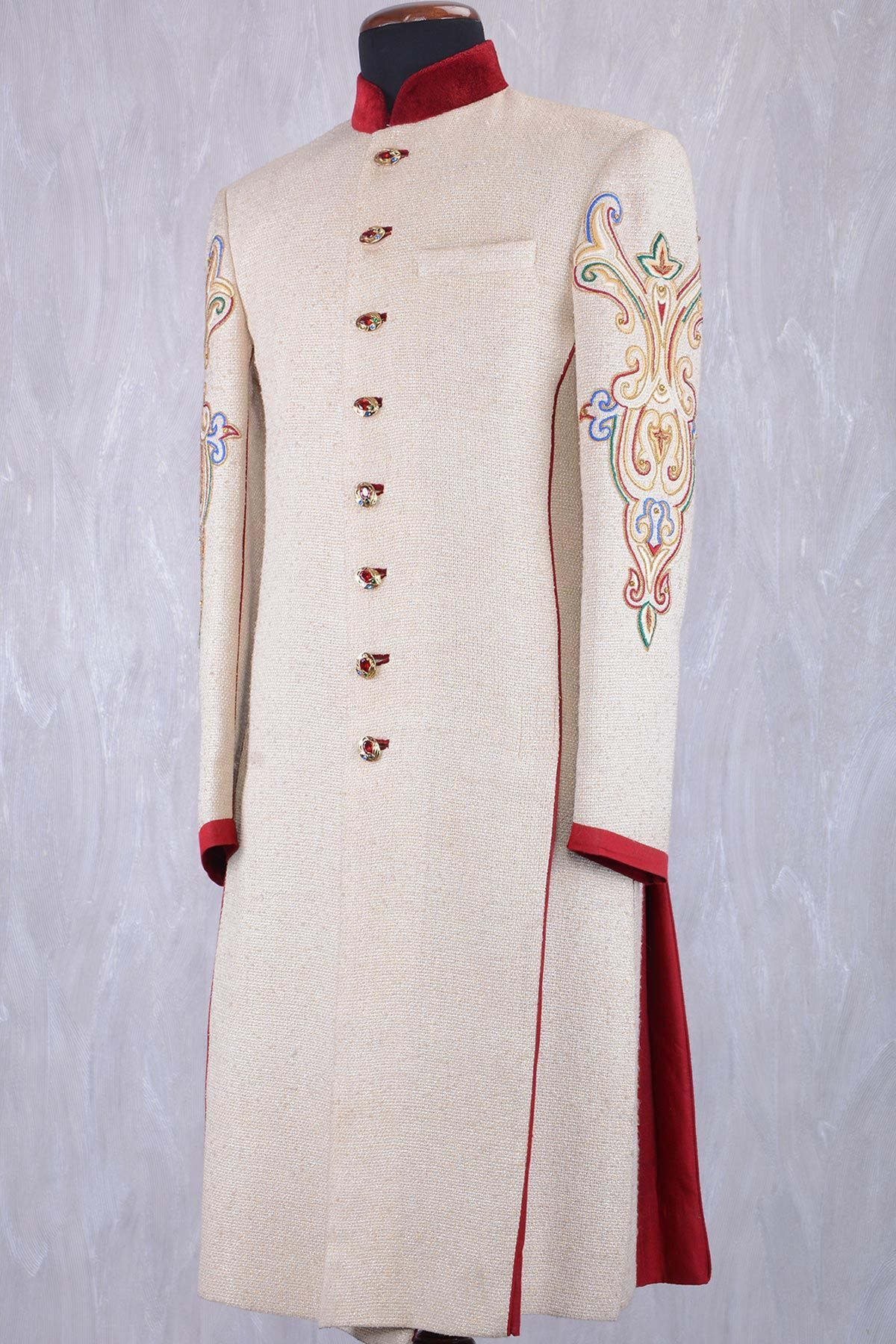 Off white u maroon jute stone embroidered wedding sherwanish