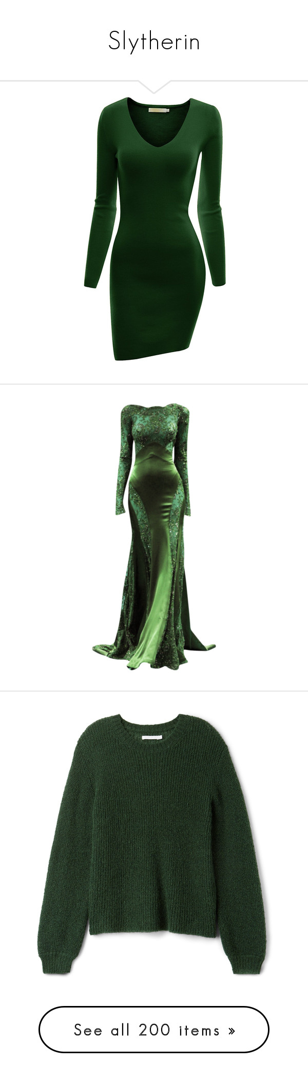Green long sleeve cocktail dress  Slytherin