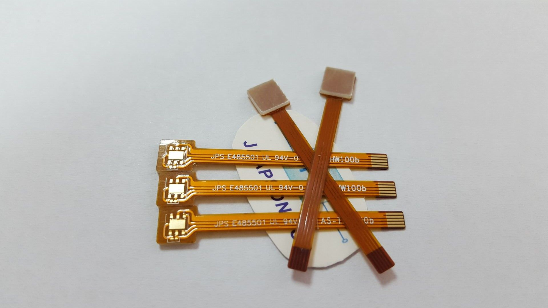 Flex Pcb With Stiffeners Material Polyimide Kapton Thickness 0 13mm Copper Thickness 1oz Surface Finishing Enig Immersion Gold Orange Coverlay White Silk Sc