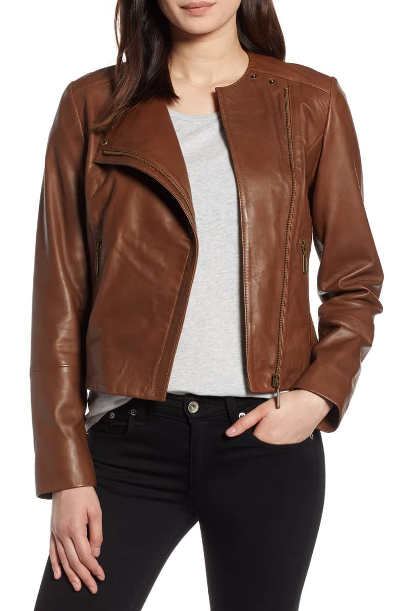 Halogen Collarless Leather Jacket Regular Petite Nordstrom Collarless Leather Jacket Leather Jacket Outfits Leather Jacket [ 1196 x 780 Pixel ]