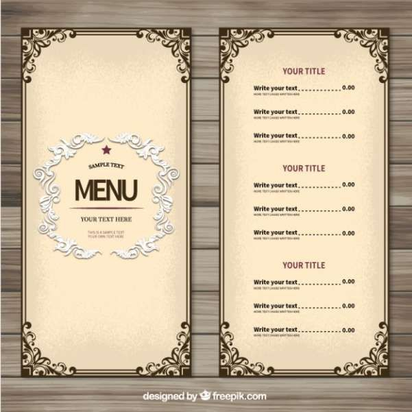 50 Free Food U0026 Restaurant Menu Templates   XDesigns  Free Printable Restaurant Menu Template