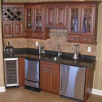 Wet bar - turning a corner | Bars for home, Kitchen inspirations, Home kitchens