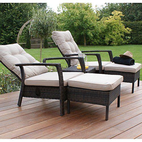 San Diego Rattan Garden Furniture Brown Reclining Sun Lounger Chair ...