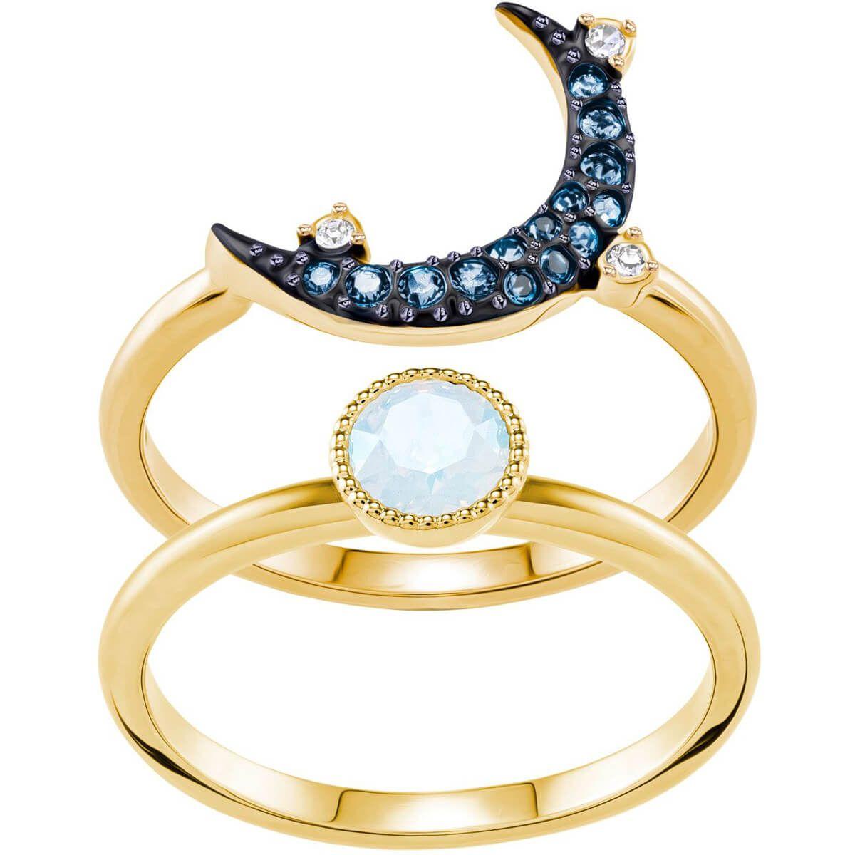 edbe71c9d Swarovski Symbolic Moon Ring, Teal, Mixed Plating exclusively on Swarovski .com