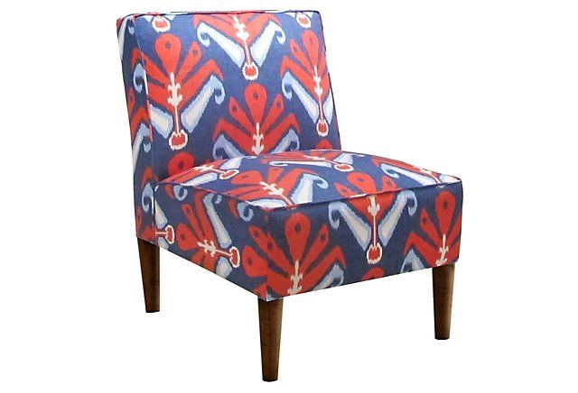 Exceptionnel One Kings Lane   Play With Pattern   Finnegan Armless Chair, Blue/Red