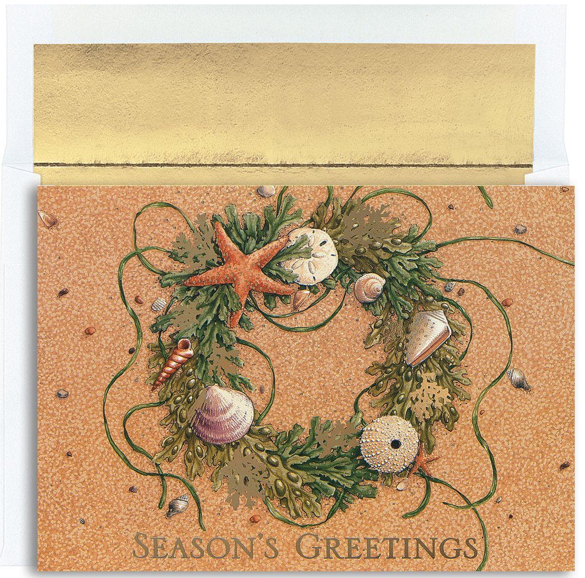 MyCards4Less - Beach Wreath Tropical Christmas Cards, $14.40 (http ...