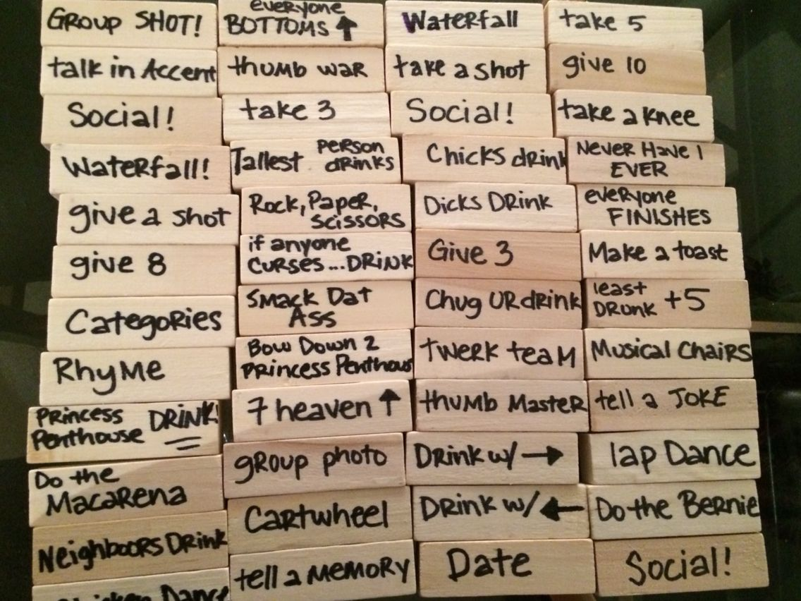 Jenga Drinking Game Block Ideas Drink