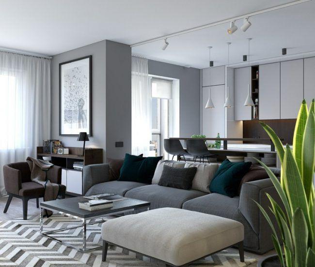 Schon Wohnung Inspiration Modernes Wohnzimmer Grau Couch Zickzack Teppich