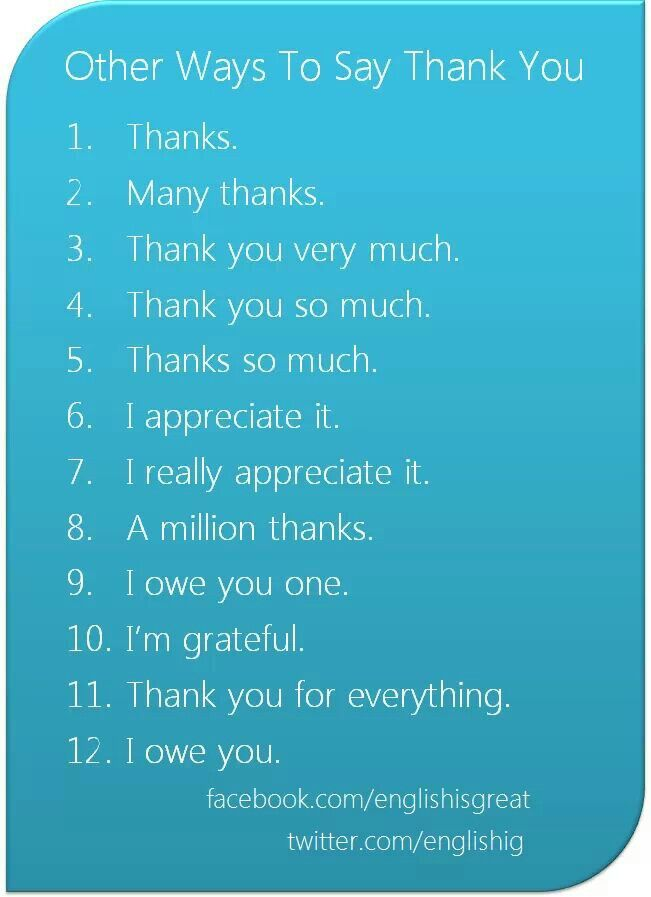 how to say thank you in other words
