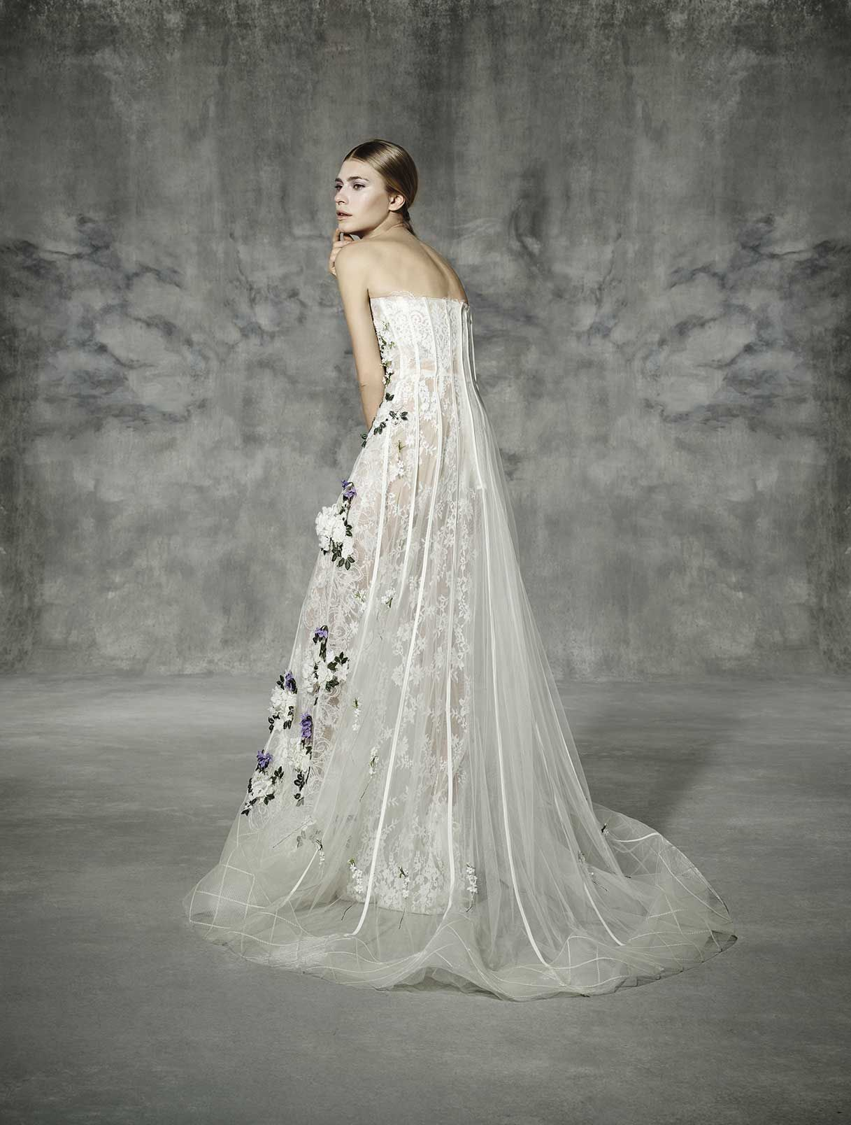 ROURE By Yolan Cris Strapless Wedding Dress Made Hand With A Lovely Mixing