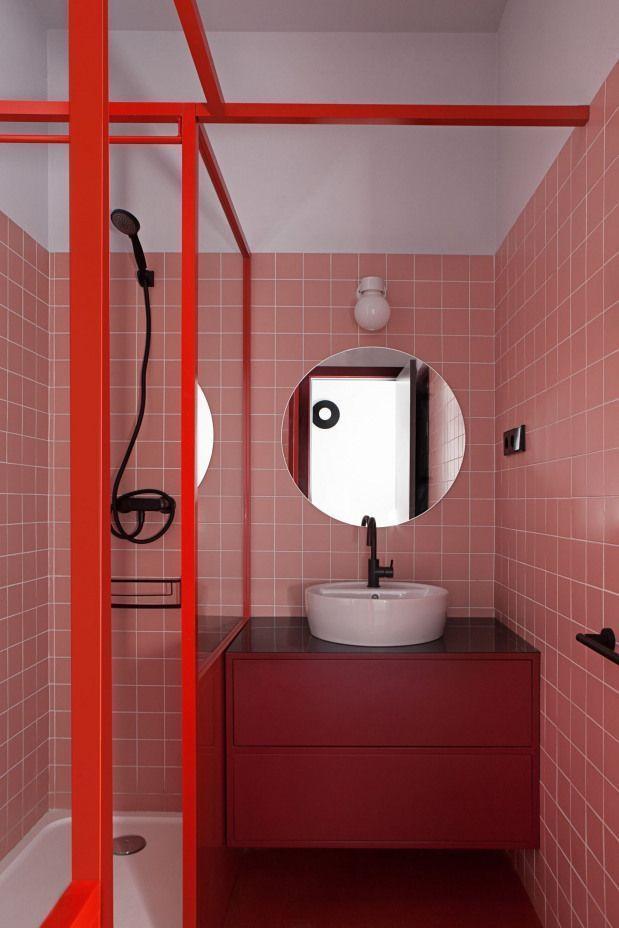 Photo of Rosa Terrakotta-Badezimmer || Studentenwohnung Madrid – Studio Pluta …
