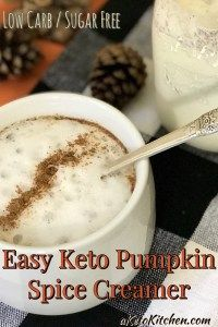 Easy Keto Pumpkin Spice Coffee Creamer - A Keto Kitchen #pumpkinspiceketocoffee