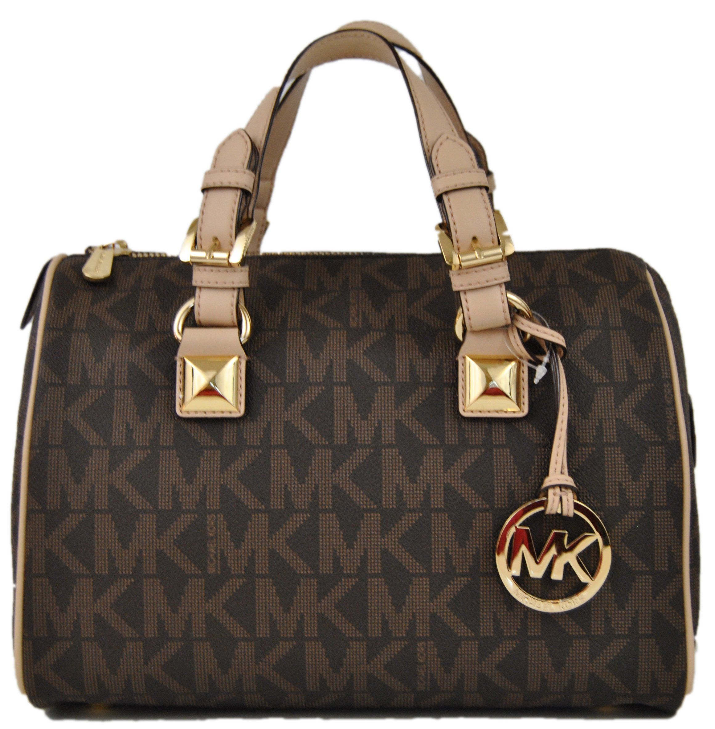 Michael Kors Grayson Medium Satchel Signature Brown PVC: Handbags: Amazon .com