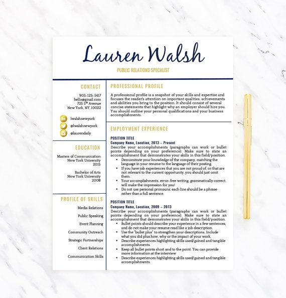 PROFESSIONAL RESUME TEMPLATE FOR WORD - INSTANT DOWNLOAD - MAC - profile template word