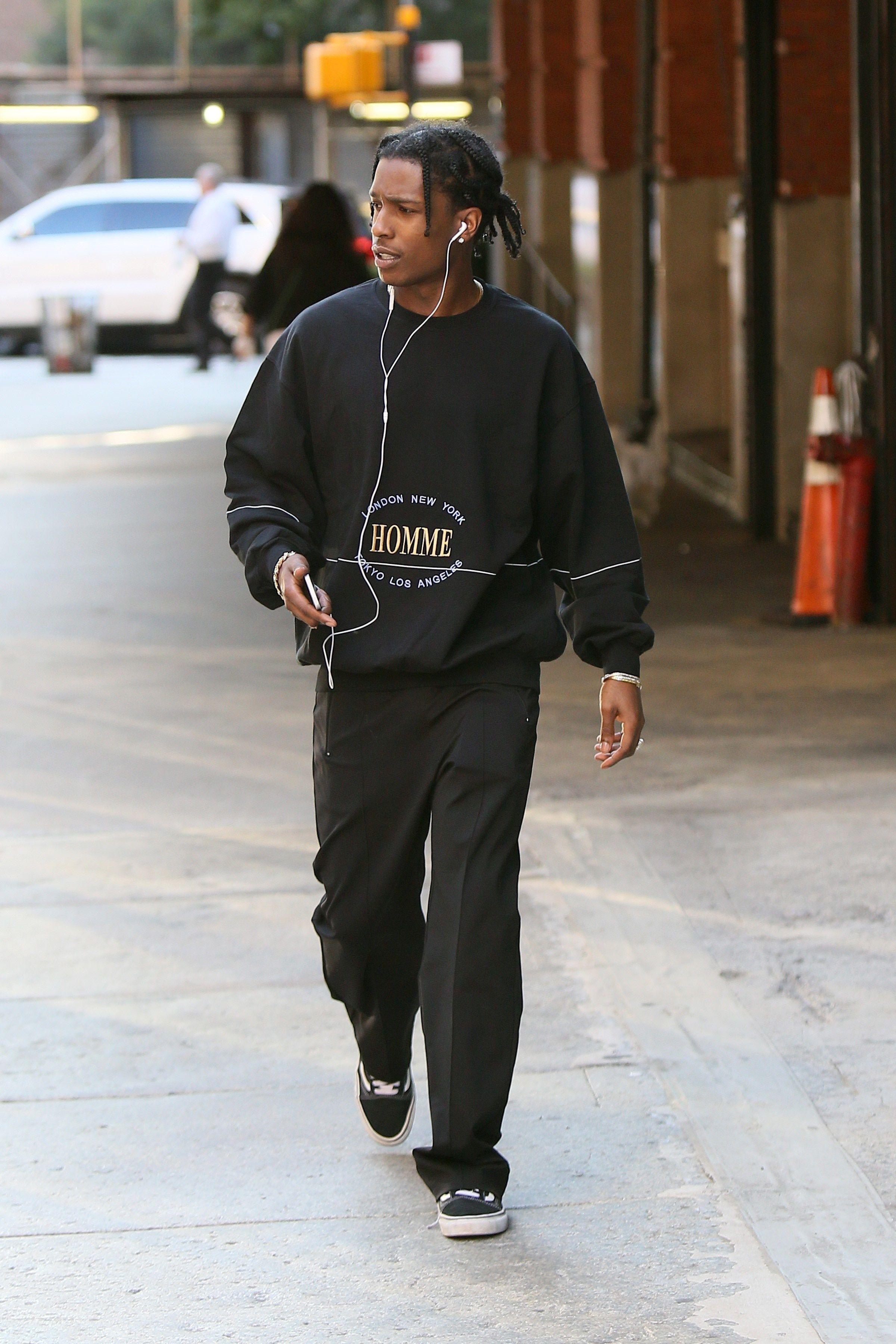 e929d4c2 ASAP Rocky wearing Balenciaga Homme Sweatshirt, Vans Vans Old Skool