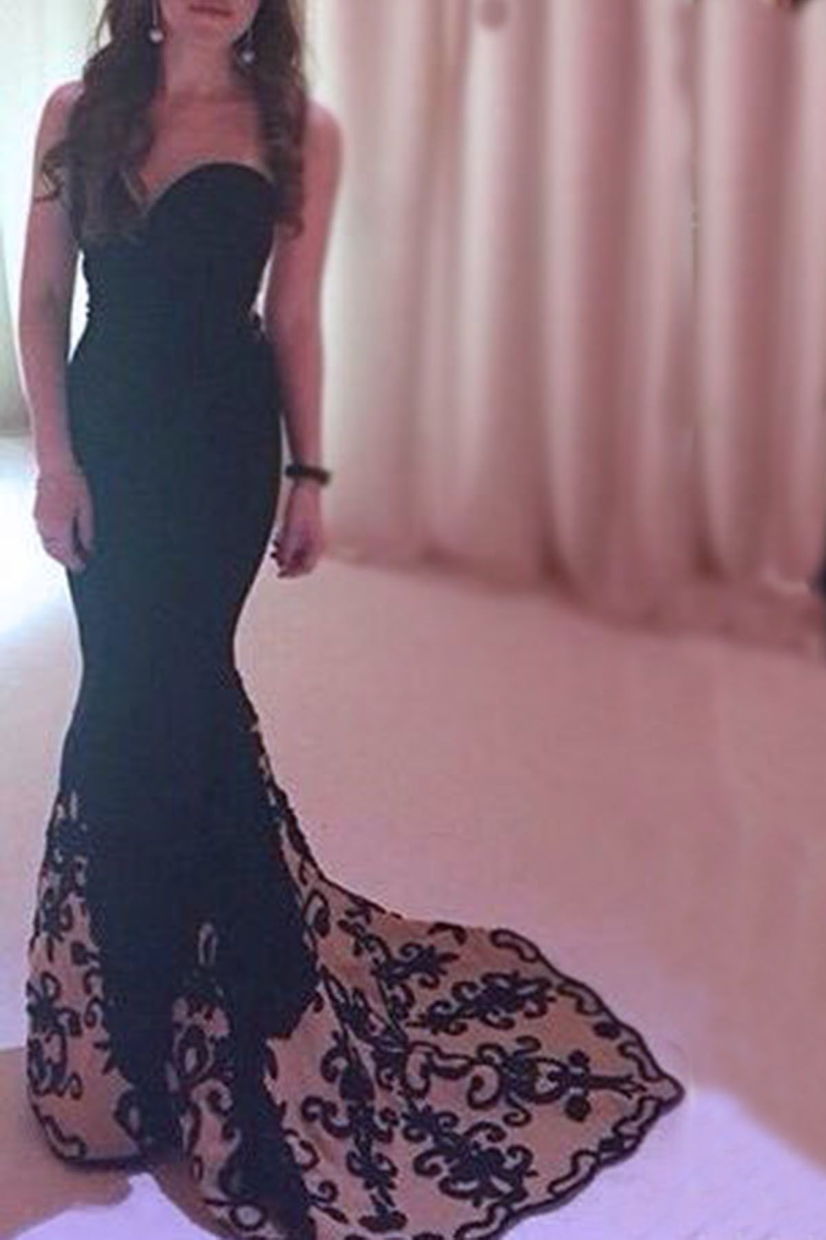 Sweetheart prom dress ball gown black lace chiffon long evening