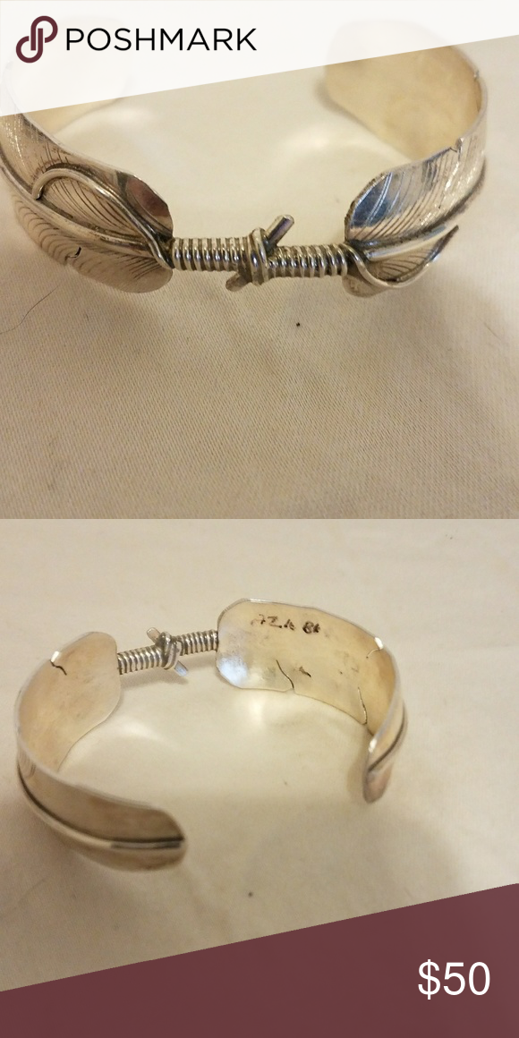 Native American Sterling Silver Cuff Sterling Silver feather cuff Jewelry Bracelets