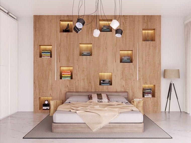 Libreria in legno camera da letto nicchie illuminate for Libreria in camera da letto