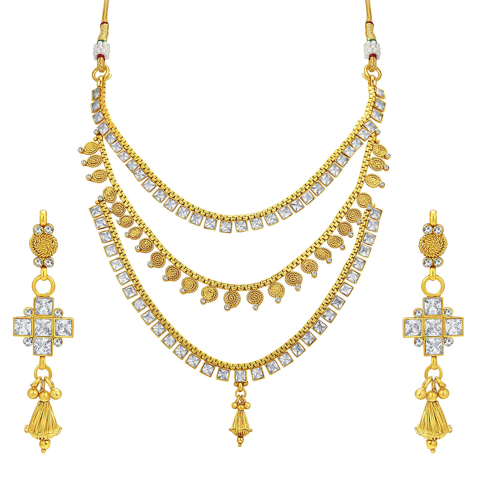 9729d21c6 Buy Sukkhi Luxurious Three String Jalebi Gold Plated American Diamond  Necklace Set For Women online. ✯ 100% authentic products, ✯ Hand curated,  ...
