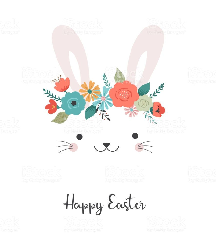 Happy Easter Card Template Cute Bunny With Flower Crown Vector Happy Easter Card Easter Illustration Easter Cards
