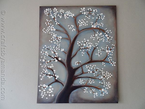 White Cherry Blossom Tree Painting - CraftsbyAmanda.com