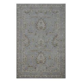 Allen Roth Rectangular Gray/Silver Transitional Hand Hooked Wool Area Rug  (Common:
