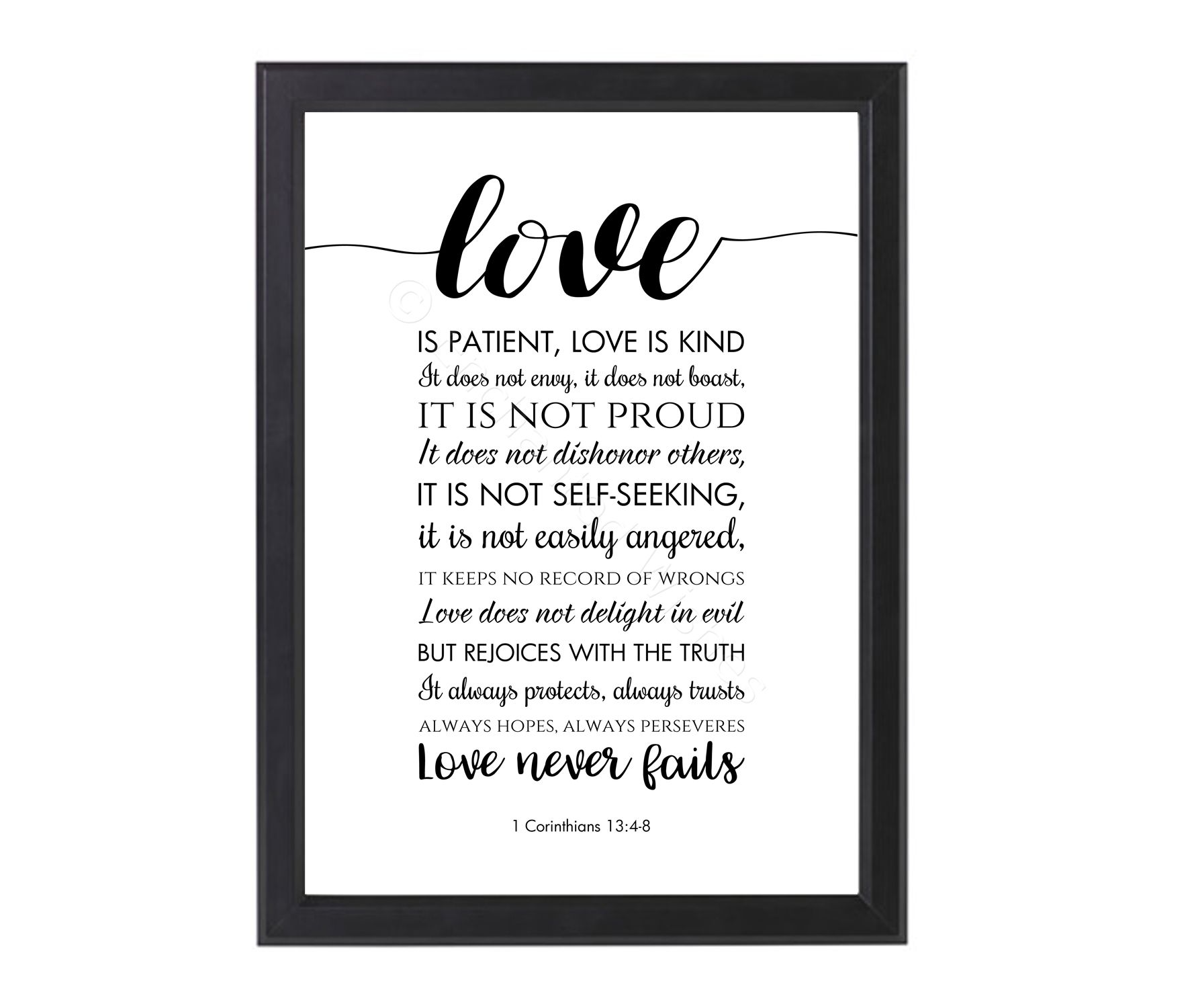 Bible Verses Love Quotes Love Is Patient Love Is Kind Bible Verse Quote Print  Typography