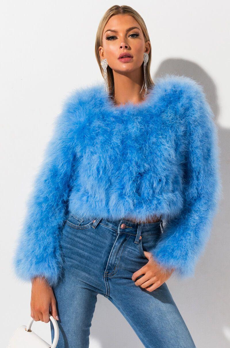 , SWEET TALK OSTRICH FEATHER JACKET IN LIGHT BLUE, Hot Models Blog 2020, Hot Models Blog 2020