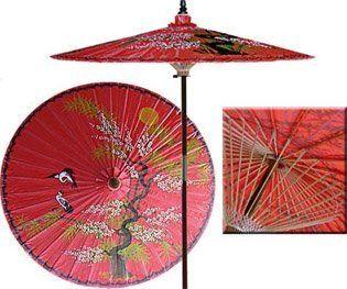 Asian Splendor 7 Foot Patio Umbrella With Base   Dragon Red By Oriental  Decor. $249.95