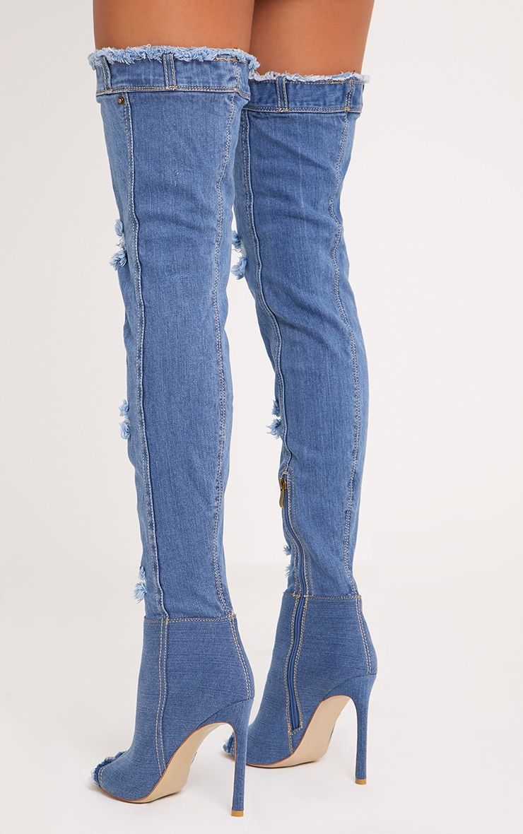 210f94da1638 Mid Wash Ripped Denim Peep Toe Thigh Boots Slay like Kim K in these thigh  boots