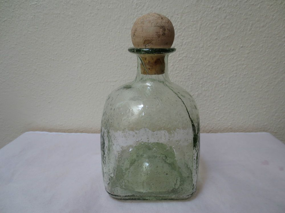Unique Vintage Italy Rare Turtle Wrapped Leather Green Whiskey Decanter Empty Modern Techniques Collectibles Decorative Arts