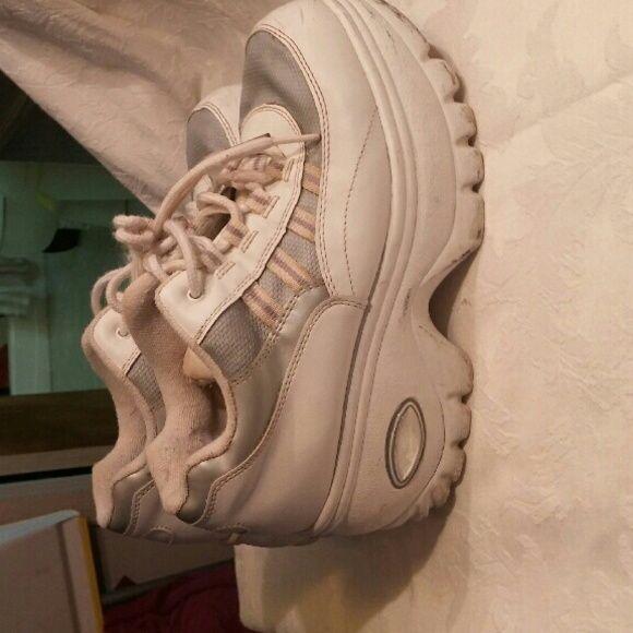 white soda platform shoes
