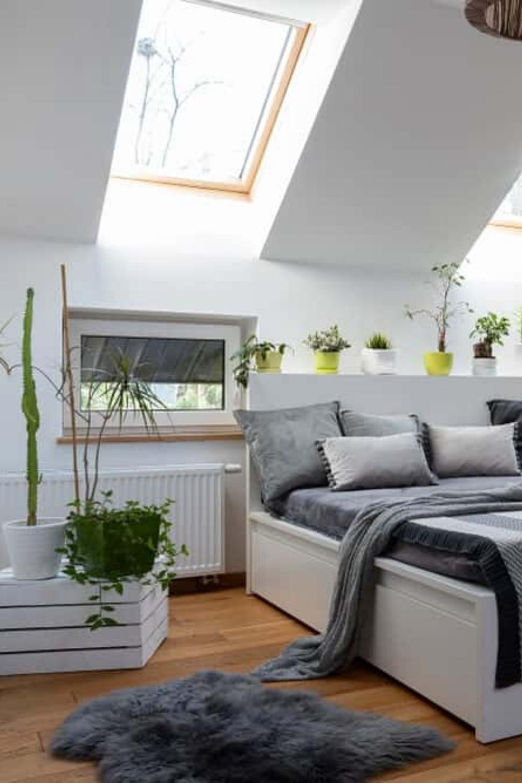 Light Grey Bedside Table: 101 Scandinavian Bedroom Ideas (Photos) In 2020