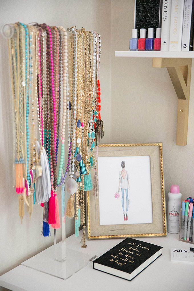 How I Store My Jewelry The Fashionista S Diary Jewellery Storage Necklace Storage Organization