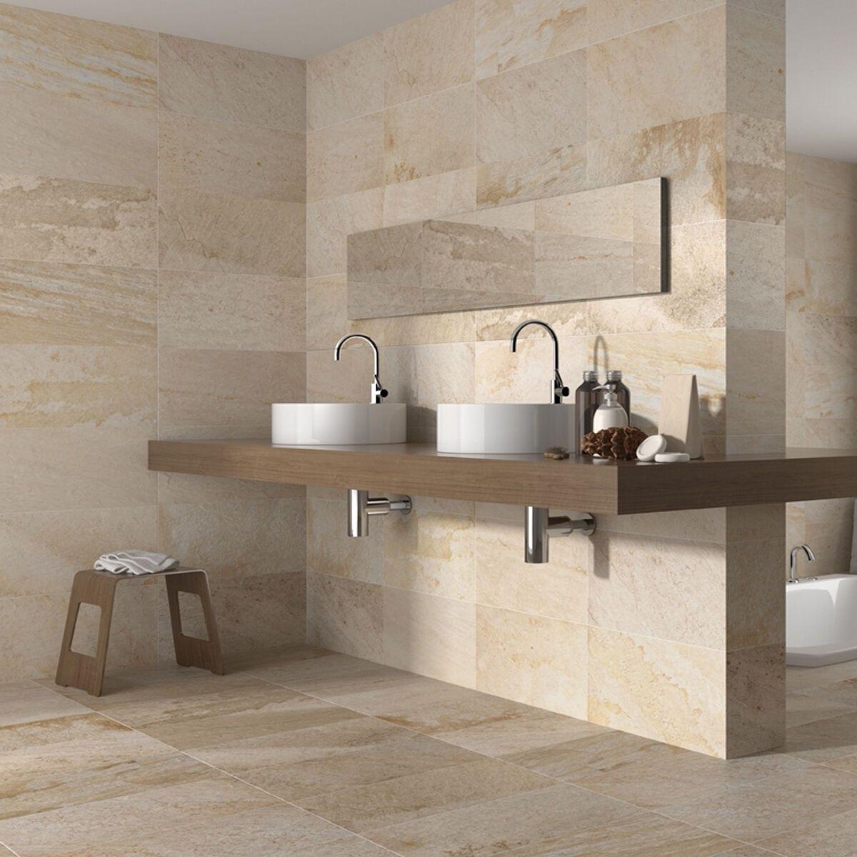 50x27 Matt Cream Stone Effect Ceramic Wall and Floor Tiles