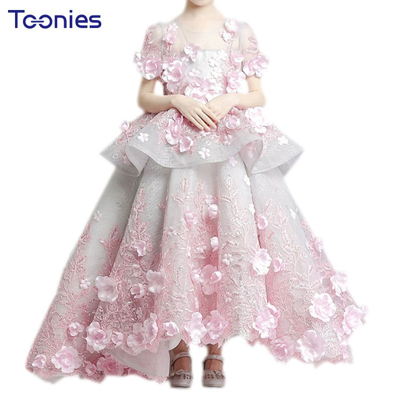 Luxury Flower Girls Party Dress Appliques Christmas Ball Gowns Long Trailing Costume Holy First Communion Pageant Prom Dresses #Affiliate